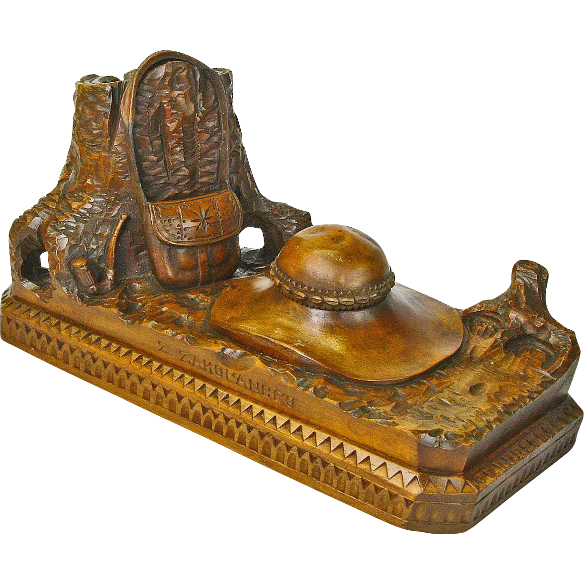 Black Forest Style Carved Desk Set, Inkwell, Zakopenego, Poland