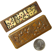 "Black Forest Carved Miniature Box with Dominoes and Dice Set, Souvenir of  ""Gmunden"""