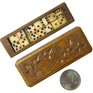 """Black Forest Carved Miniature Box with Dominoes and Dice Set, Souvenir of  """"Gmunden"""""""