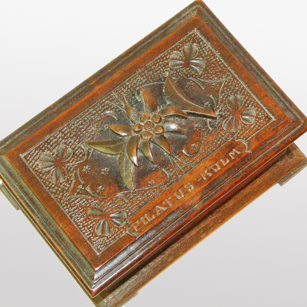 Black Forest Desk Box, Souvenir of Pilatus-Kulm, Ca. 1900