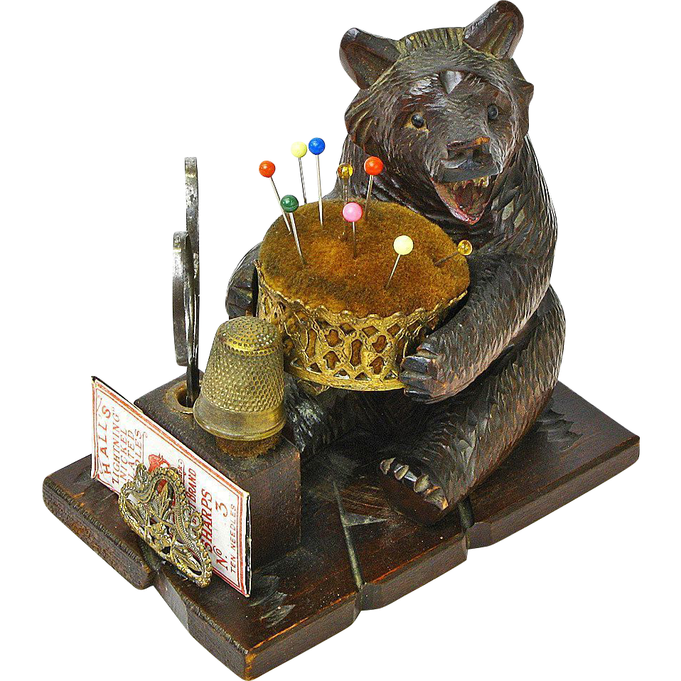Black Forest Bear Sewing Caddy with Pin Cushion, Ca. 1880's