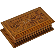 Souvenir Black Forest Carved Stamp Box from Maderanerthal - Red Tag Sale Item