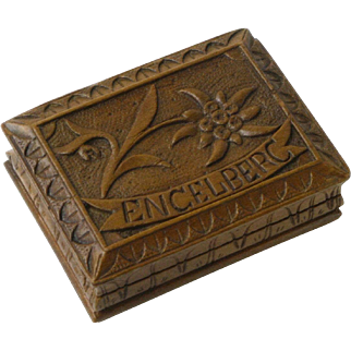 Souvenir of Engelberg Austria Hand Carved Wooden Stamp Box, Black Forest