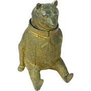 Gilded Cast Metal Bear Inkwell