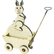 Easter Bunny Pull Cart Toy, Ca. 1880-1900