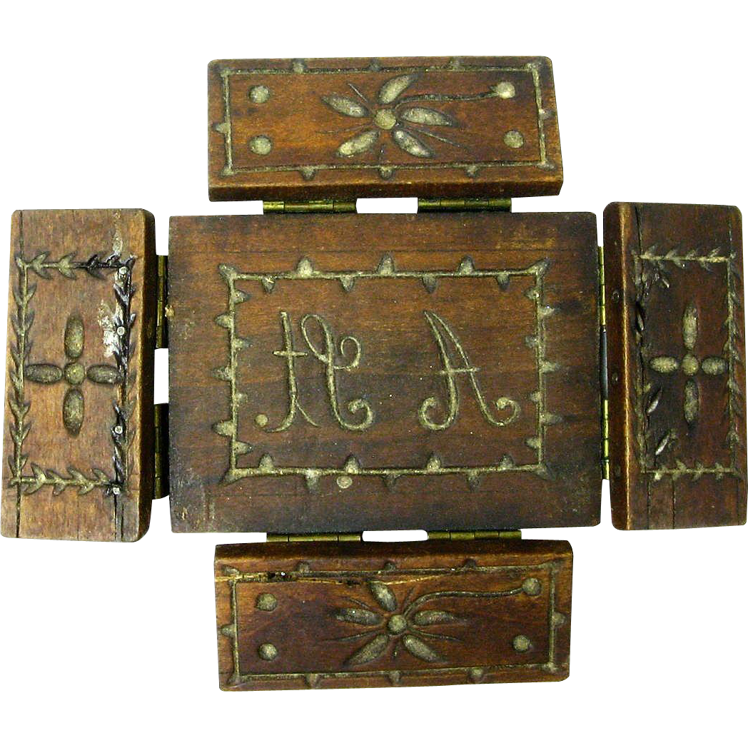 Folk Art Carved Walnut Hinged Butter Mold