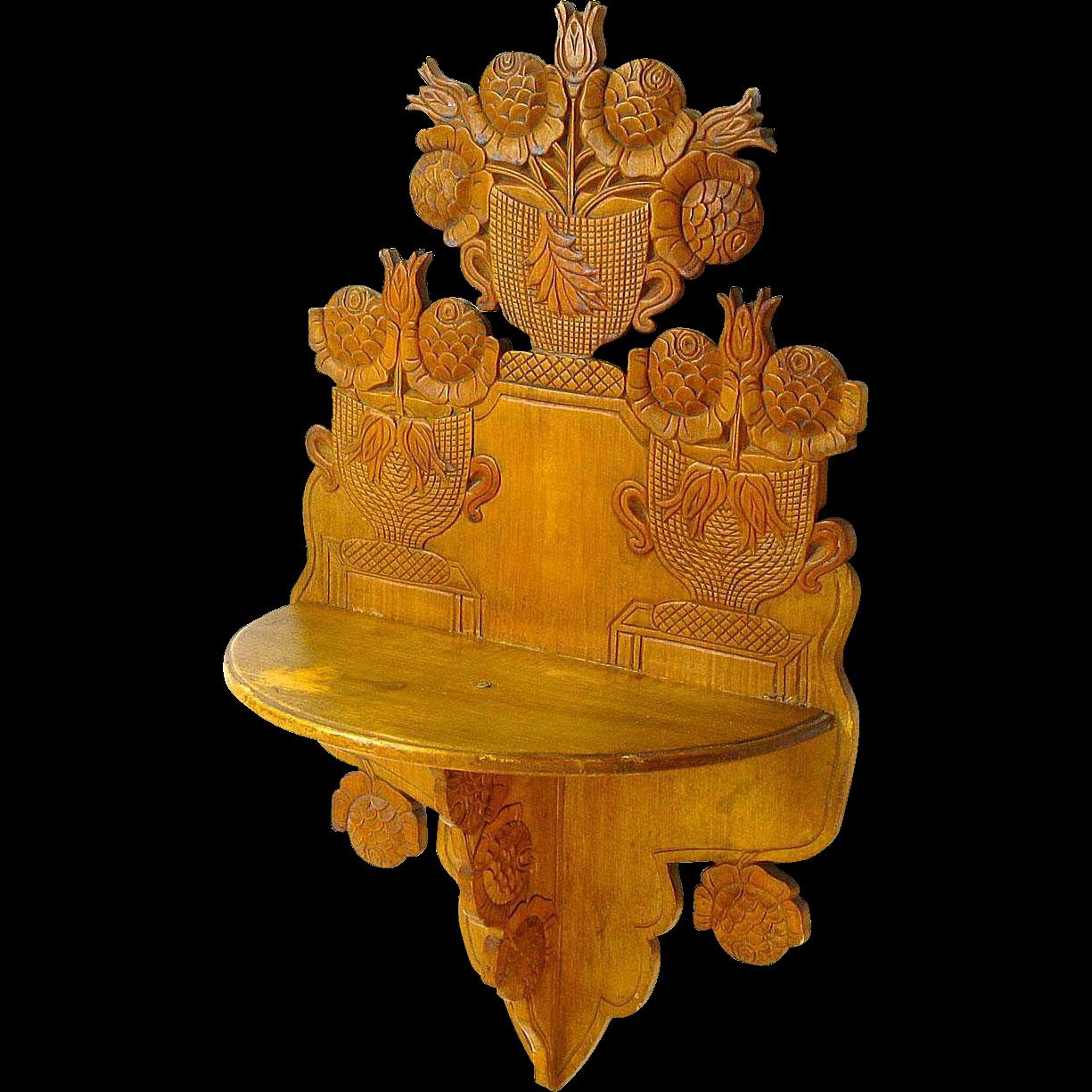Expertly Carved Folk Art Hanging Shelf, Ca. 1880