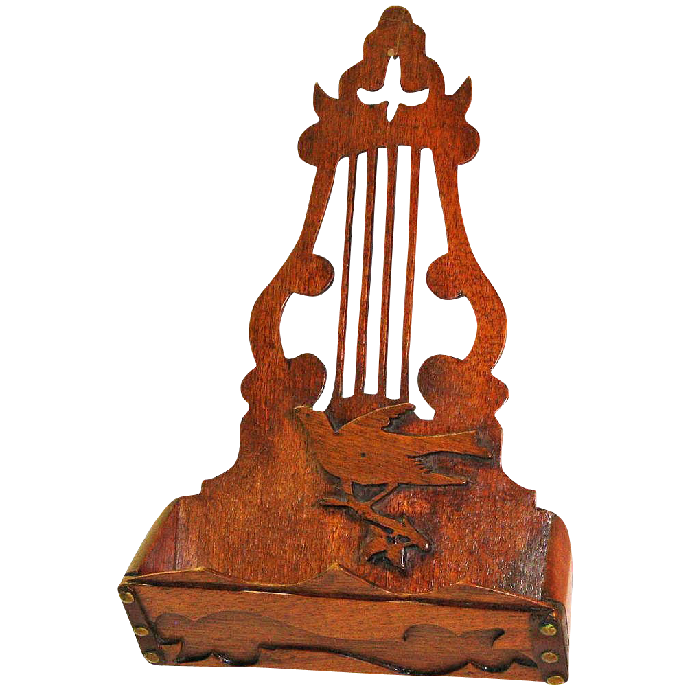 Mahogany Irish Harp Design Comb Case/ Wall Pocket  w/ Decorative Elements