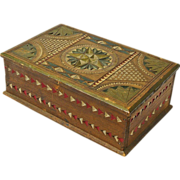 Chip Carved Painted Mahogany Desk Box, Ca. 1880