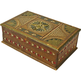 Chip Carved and Painted Mahogany Desk Box, Ca. 1880