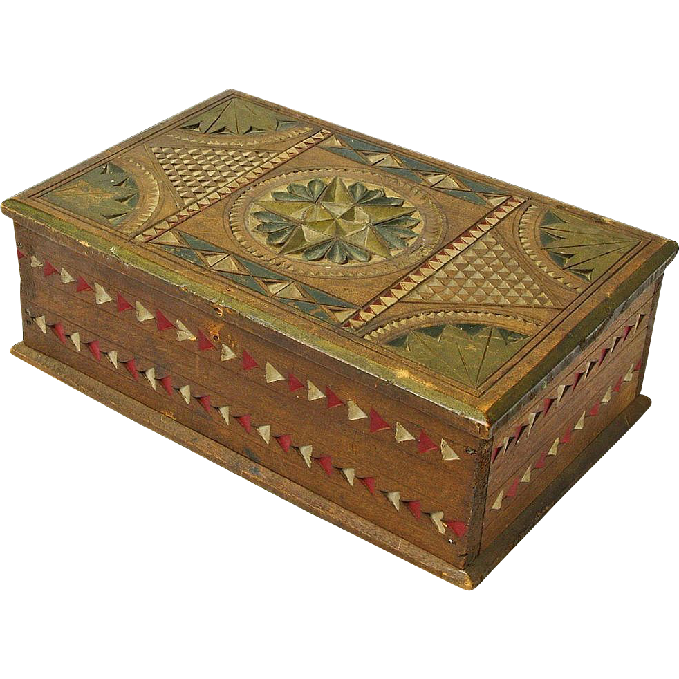 Chip carved and painted mahogany desk box ca from