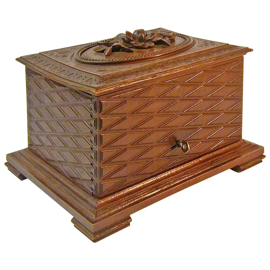 French Carved Walnut Cigar Humidor w/Lock, Ca. 1880