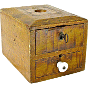 Grain Painted Two Drawer Fraternal Organization Ballot Box, Ca. 1880