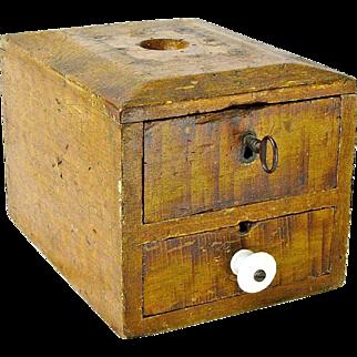 Two Drawer Fraternal Organization Grain Painted Ballot Box, Ca. 1880