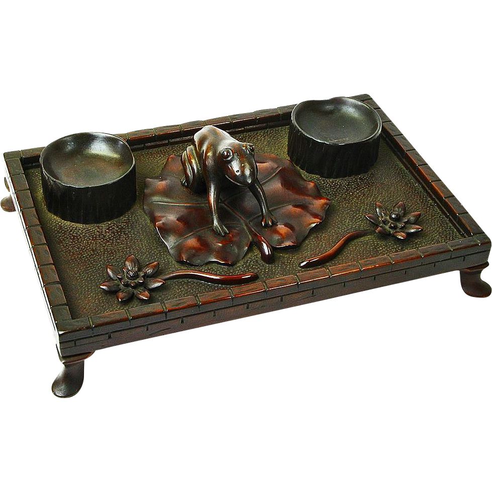 "Gentleman's Mahogany Dresser Tray, ""Frog on Lily Pad"" Ca. 1880"