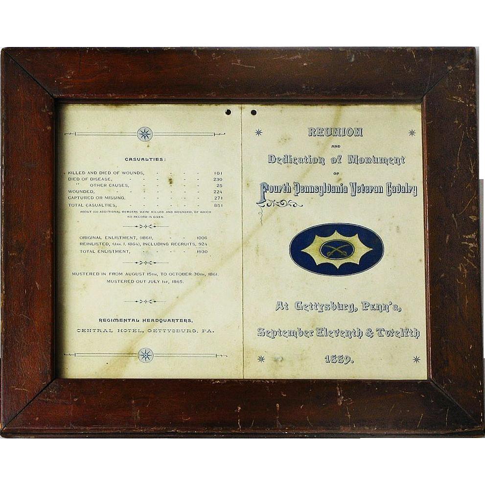 4th Pennsylvania Cavalry Gettysburg Monument Dedication Program Invitation, 1889
