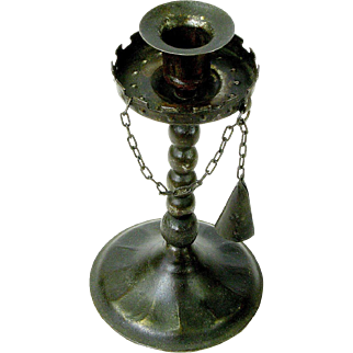 Goberg Gothic Candlestick with Chained Snuffer, Ca. 1910