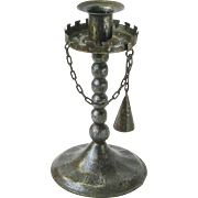 Goberg Gothic Iron Candlestick with Chained Snuffer, Ca. 1910