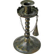 Goberg Gothic Candlestick with Chained Snuffer, Signed, Ca. 1910