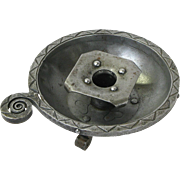 Goberg Signed Hammered Iron Tabletop Ashtray Candlestick, Ca. 1900