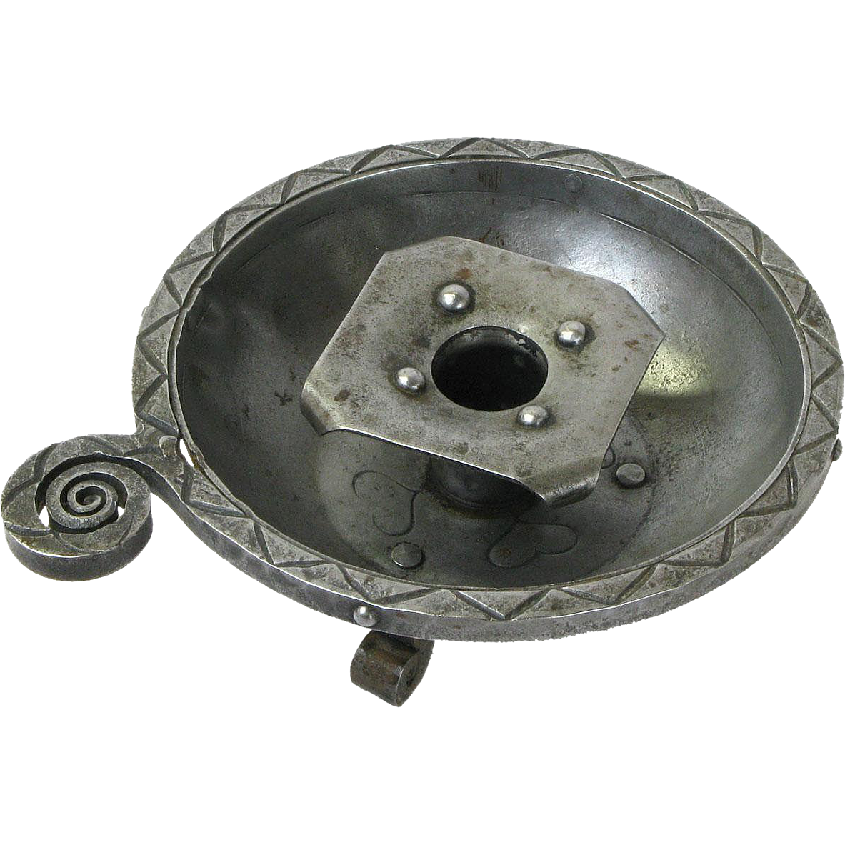 Goberg Hammered Iron Tabletop Ashtray Candlestick, Signed,Ca. 1900