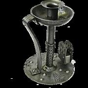 Hand Hammered  Iron Goberg Chamberstick w/ Match Box Holder, Ca. 1900-1910