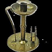 Hand Hammered Wrought Iron Goberg Chamberstick w/Matchbox Holder, Signed, Ca. 1900-1910