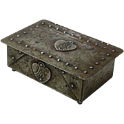 Signed Goberg Wood Lined Hammered Iron Box with Heart Medallions