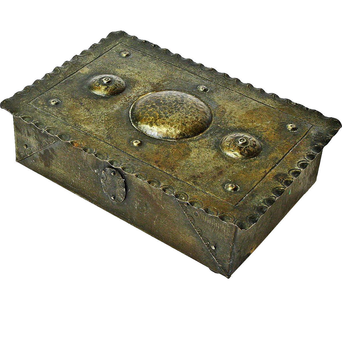 Signed Goberg Hand Hammered Iron Decorative Lined Desk Box Humidor, Ca. 1900-10