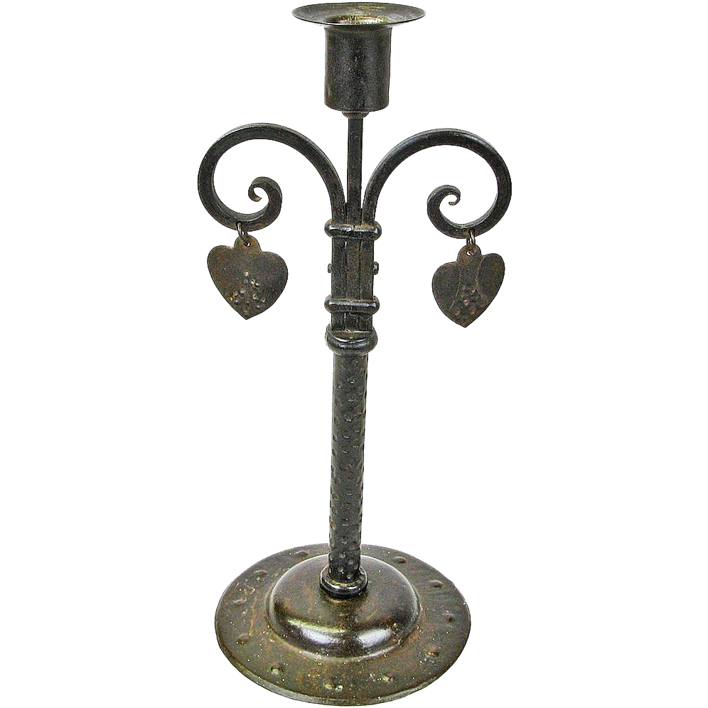 Rare Single Stick Hand-Wrought Goberg Iron Candelabra w/Dangling Hearts, Ca. 1910