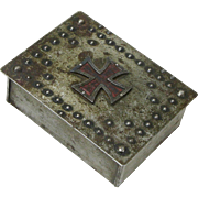 Goberg Signed Iron Cross Desk Box, Cigarette Humidor, Ca. 1915