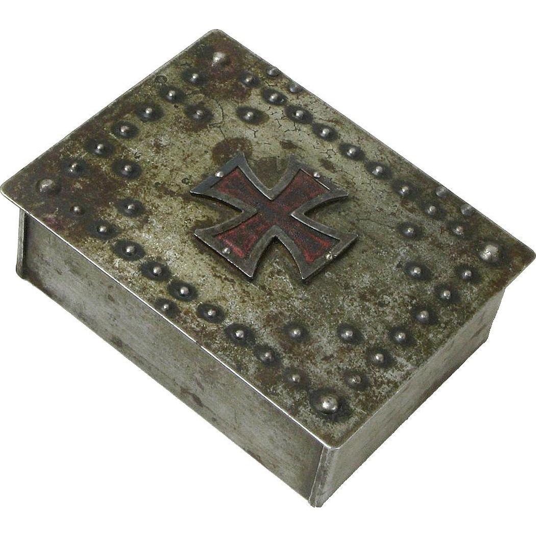 Goberg Signed Iron Cross Desk Box, Cigarette Humidor, Ca. 1915