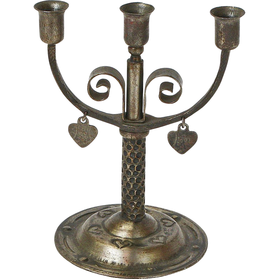 Miniature Goberg Three Stick Candelabra with Dangling Hearts, Signed