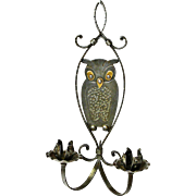 Goberg Hammered Iron Two Candle Owl Wall Sconce, Ca. 1910
