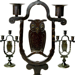 Pair of Signed Goberg Hand Hammered Three Stick Owl Candelabras, Ca. 1900