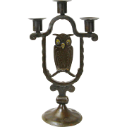 Goberg Hand Hammered Three Stick Owl Candelabra, Ca. 1900