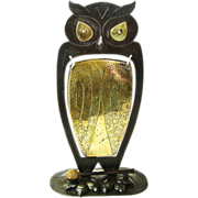 Monumental Signed Goberg Owl Gong, Ca. 1910