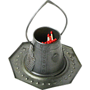 Goberg Hammered Iron Tabletop Pail Match Holder with Hearts, Ca. 1910