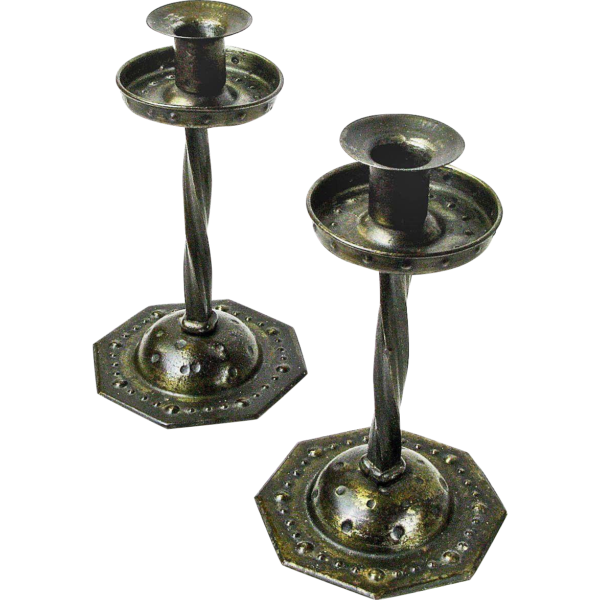 Pair of Twist Stem  Goberg Iron Candlesticks, Ca. 1900-20