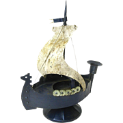 Goberg Hand Made Iron Viking Ship Candlestick and Ashtray, Ca. 1910
