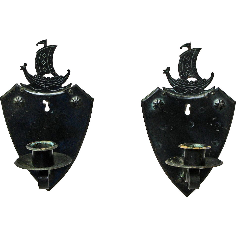 Pair of Goberg Viking Ship Wall Sconce Candlesticks, Ca. 1910