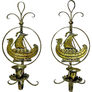 Rare Pair of Goberg Hammered Iron Brass Viking Wall Sconce Candlesticks, Ca. 1910