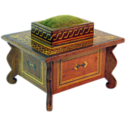 Sewing Box with Pin Cushion & Drawer, Inlaid Decoration, Ca. 1900
