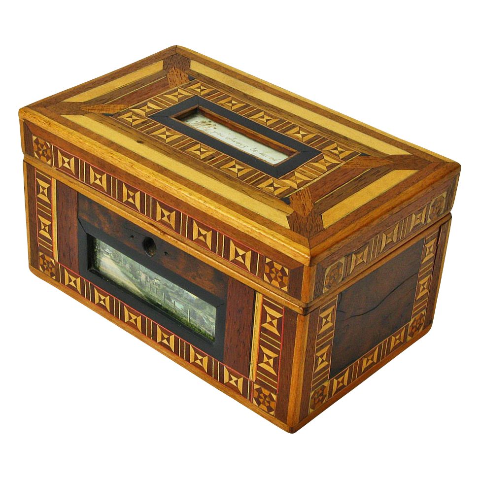 Marquetry Dresser Box, Love Token, Late 19th C.
