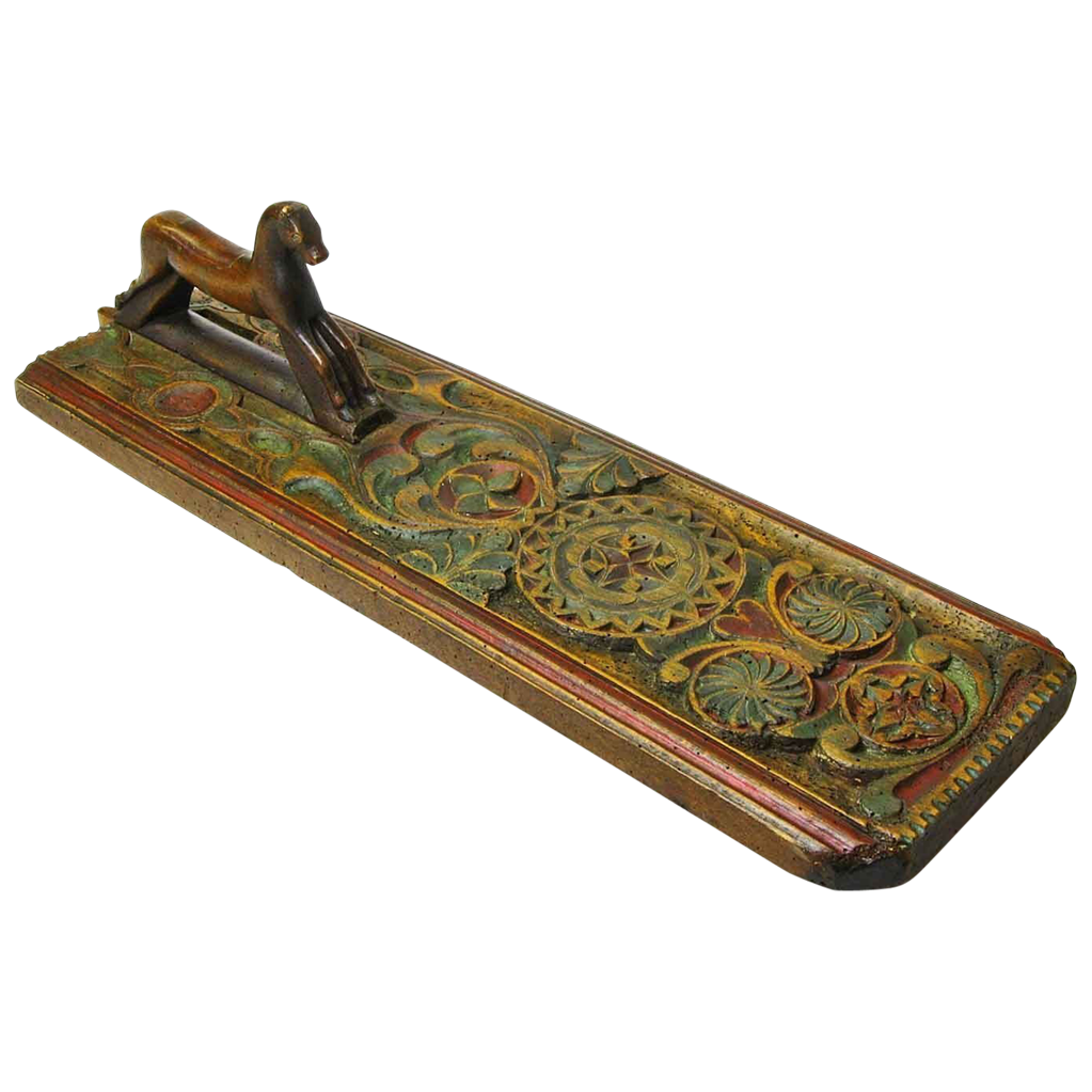 Scandinavian Painted Carved Mangle Board w/ Horse Handle, 19th Century