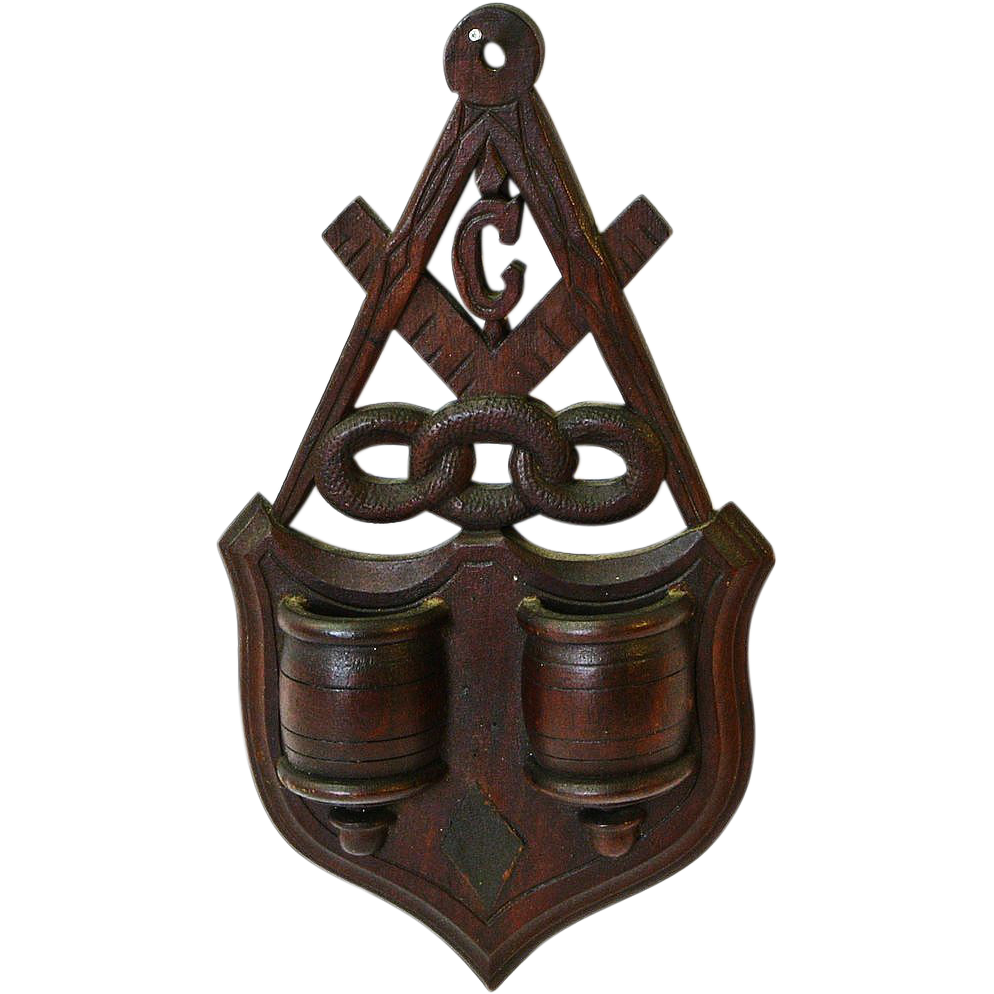 Masonic Lodge Emblem Hanging Match Holder w/ Striker, Ca. 1880-1900