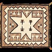 Pictorial Valero Star Navajo Weaving, All Natural Wools, Ca. 1930