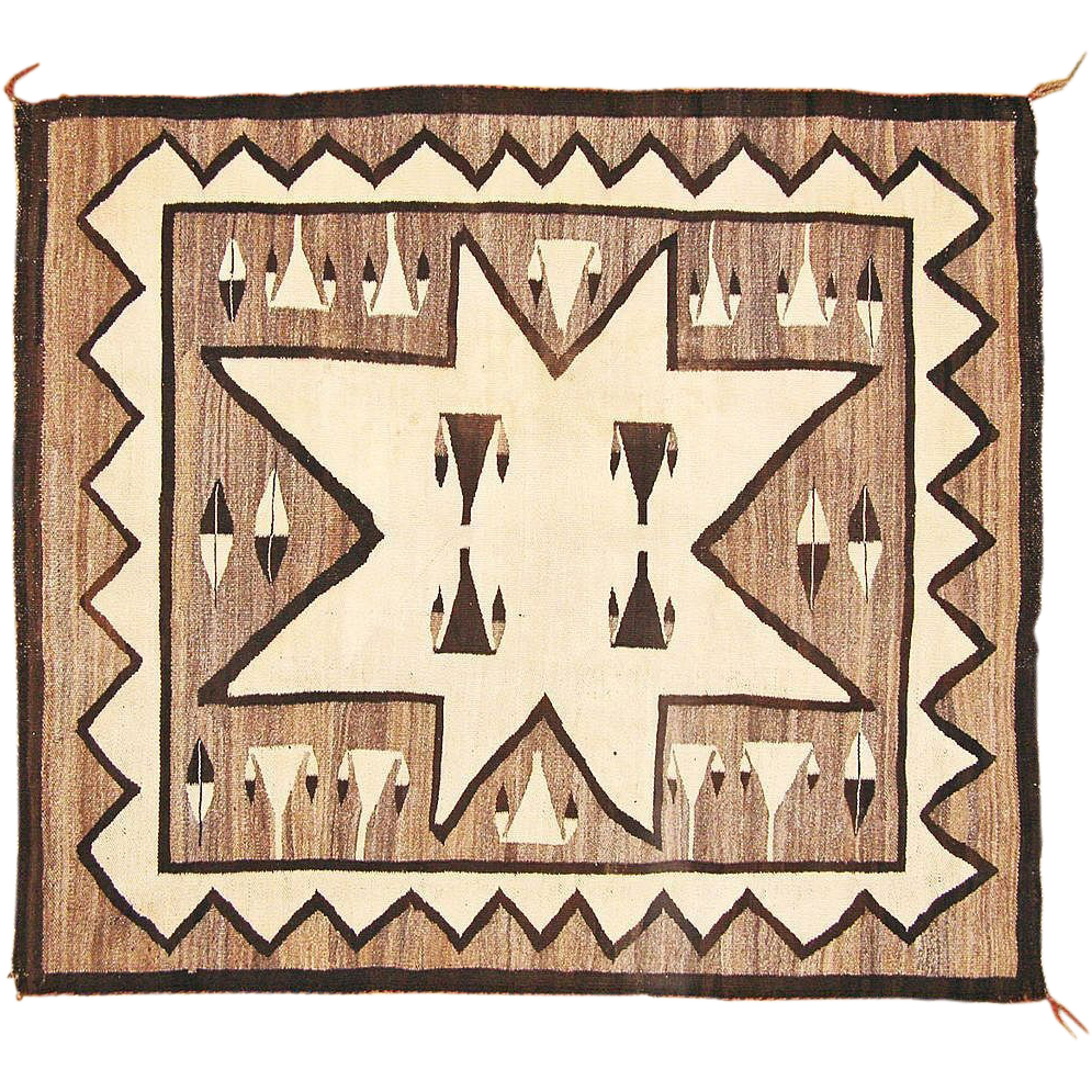 Pictorial Valero Star Navajo Weaving, All Natural Wools, Ca. 1930