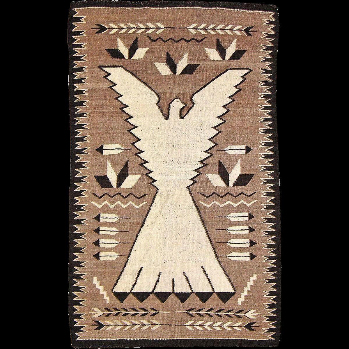 Pictorial Navajo Weaving Peyote Bird /Eagle, ca. 1930