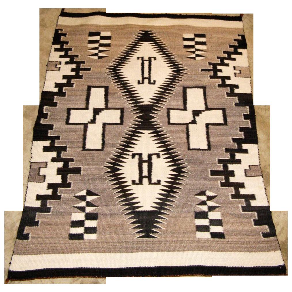 "Double ""H"" Hand-Woven Navajo Rug w/ Crosses, Ca. 1930's"